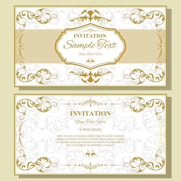 Modelo de cartão de convite de casamento. Vetor Premium