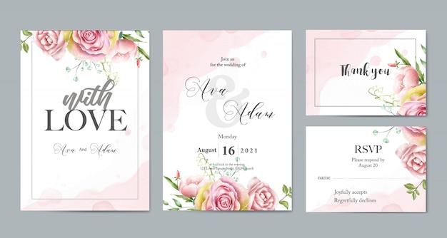 Modelo de cartão de convite de casamento Vetor Premium