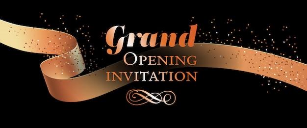 Modelo de cartão de convite de inauguração com fita de ouro Vetor grátis