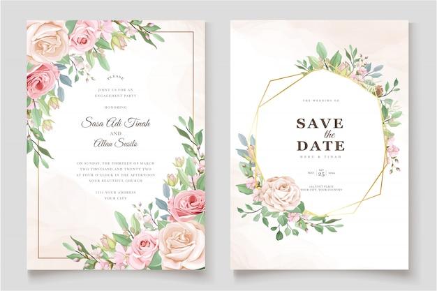 Modelo de cartão de convite de lindas rosas Vetor grátis