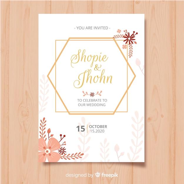 Modelo de cartão de convite de quadro floral Vetor grátis