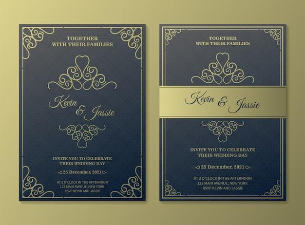 Modelo de cartão de convite de vetor dourado vintage de luxo Vetor Premium