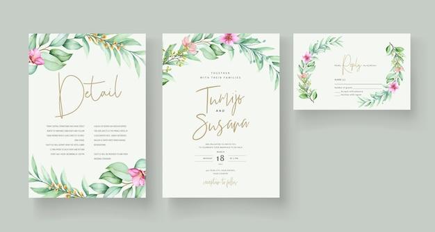Modelo de cartão de convite floral lindo Vetor grátis