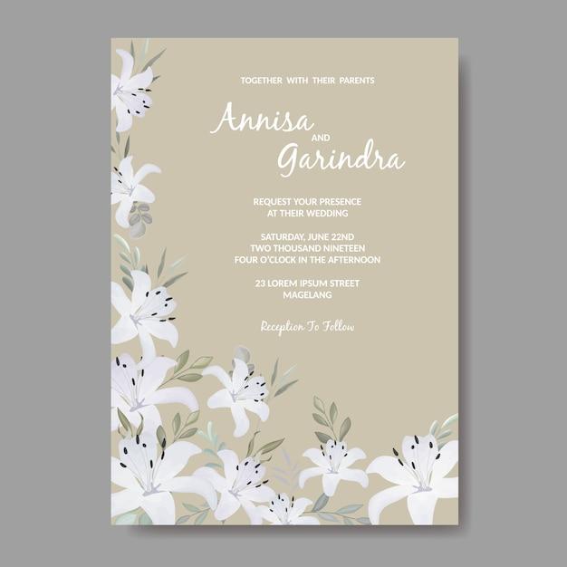 Modelo de cartão de convites de casamento elegante com branco floral e folhas Vetor Premium