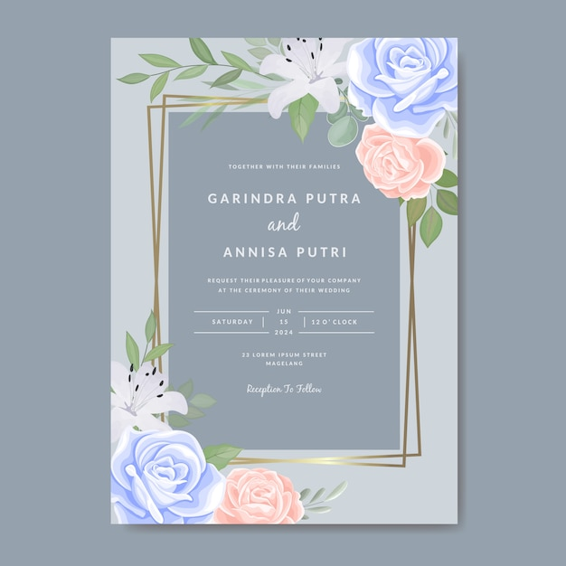 Modelo de cartão de convites de casamento elegante com colouful floral e folhas Vetor Premium