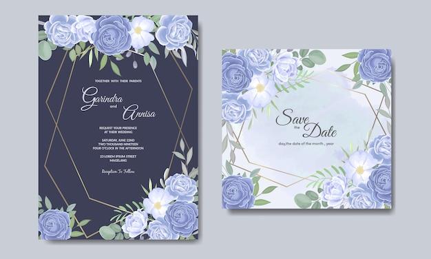 Modelo de cartão de convites de casamento elegante com floral azul e folhas Vetor Premium