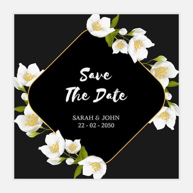 Modelo de cartão de data da flor de jasmim Vetor Premium