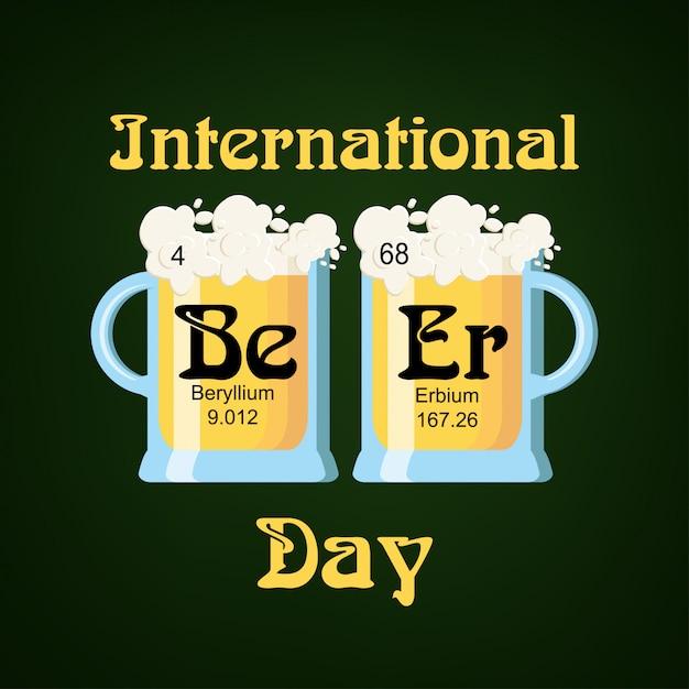 Modelo de cartão de dia internacional da cerveja Vetor Premium