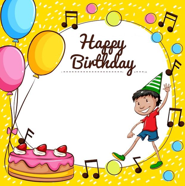 Modelo de cartão de feliz aniversário Vetor grátis
