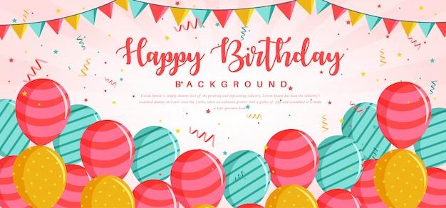Modelo de cartão de feliz aniversário Vetor Premium