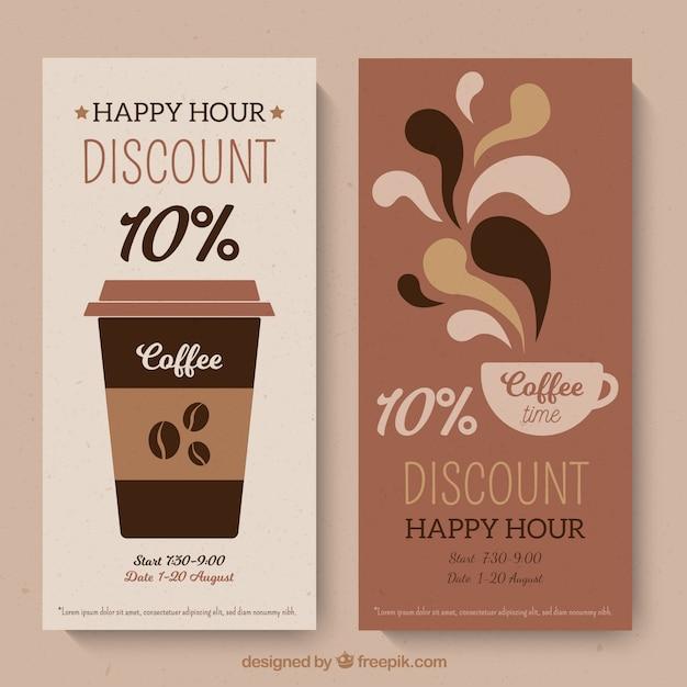 Modelo de cartão de fidelidade de café com design plano Vetor grátis