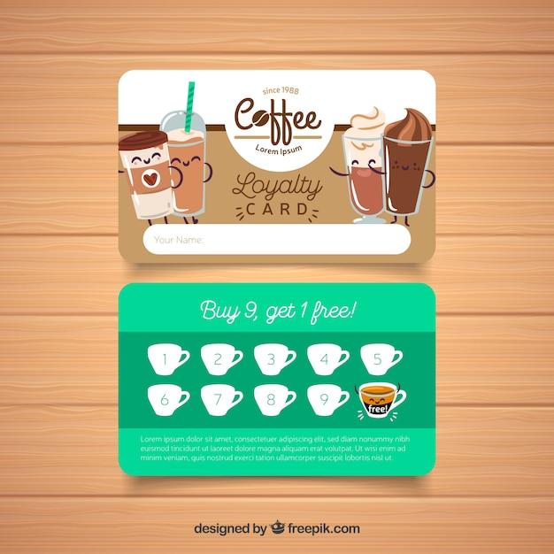 Modelo de cartão de fidelidade de café Vetor grátis