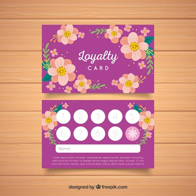 Modelo de cartão de fidelidade linda com estilo floral Vetor grátis
