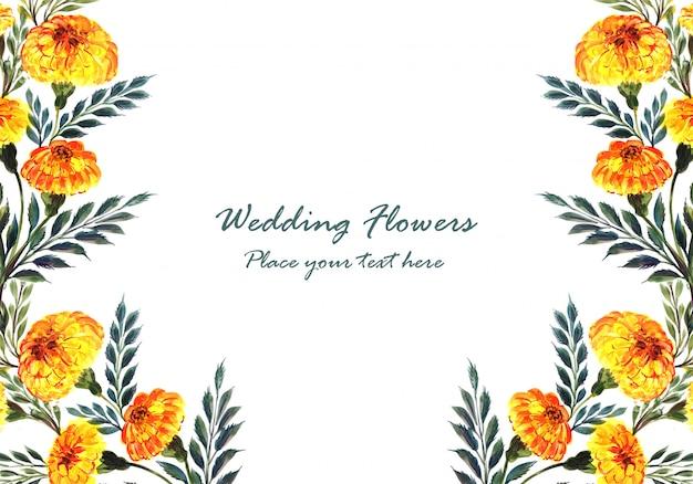 Modelo de cartão de flores decorativas em aquarela de convite de casamento Vetor grátis