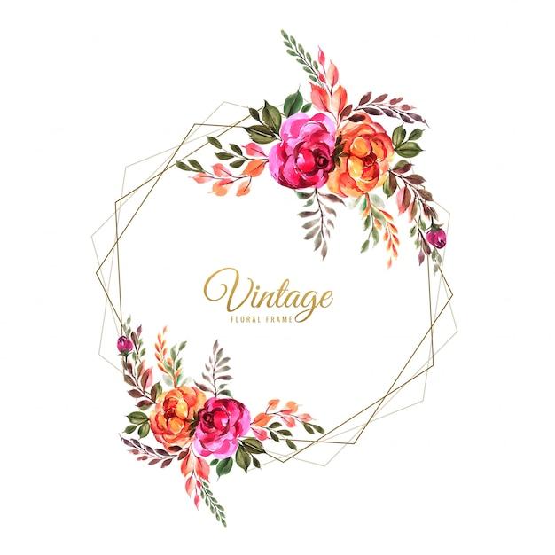 Modelo de cartão de flores ornamentais mão desenhar flores coloridas Vetor grátis