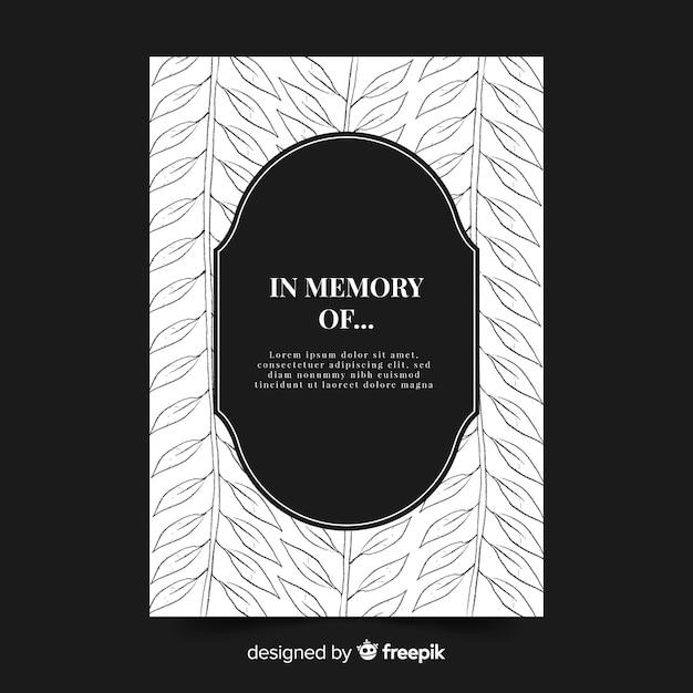 Modelo de cartão de funeral de folhas Vetor grátis