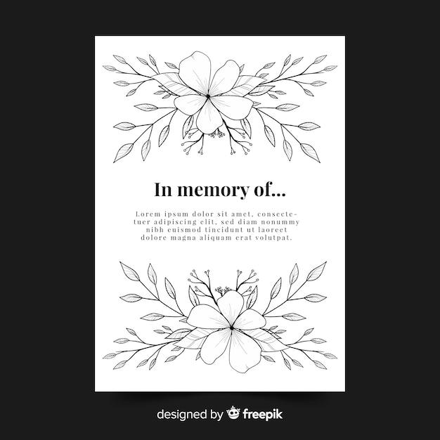 Modelo de cartão de funeral floral Vetor grátis
