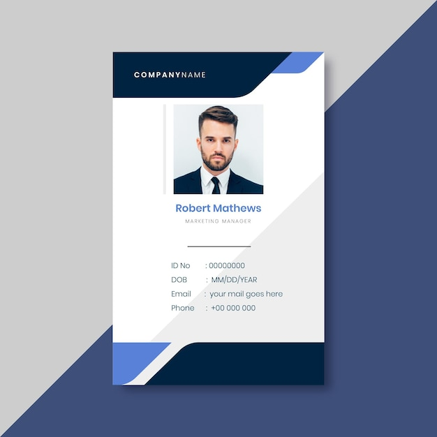 Modelo de cartão de identidade comercial com elementos minimalistas Vetor grátis