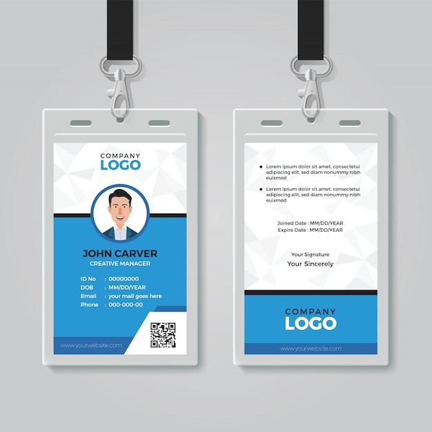 Modelo de cartão de identidade multiuso Vetor Premium