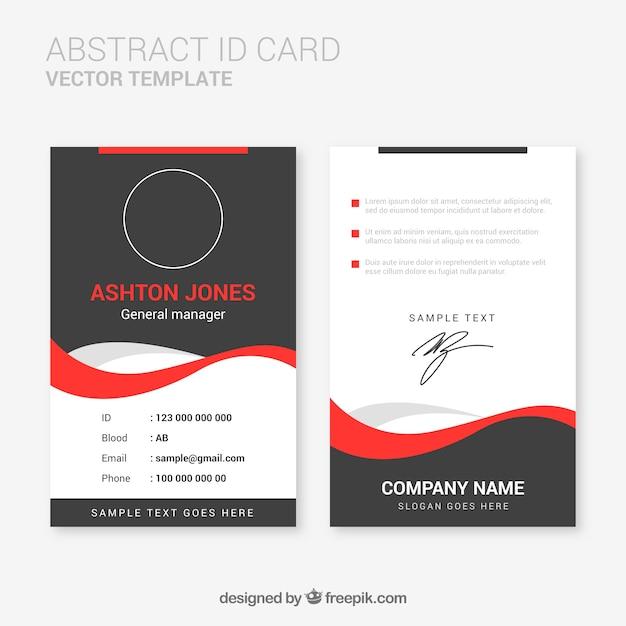 Modelo de cartão de identificação abstrata com design plano Vetor grátis