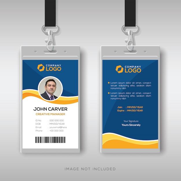 Modelo de cartão de identificação azul com detalhes amarelos Vetor Premium
