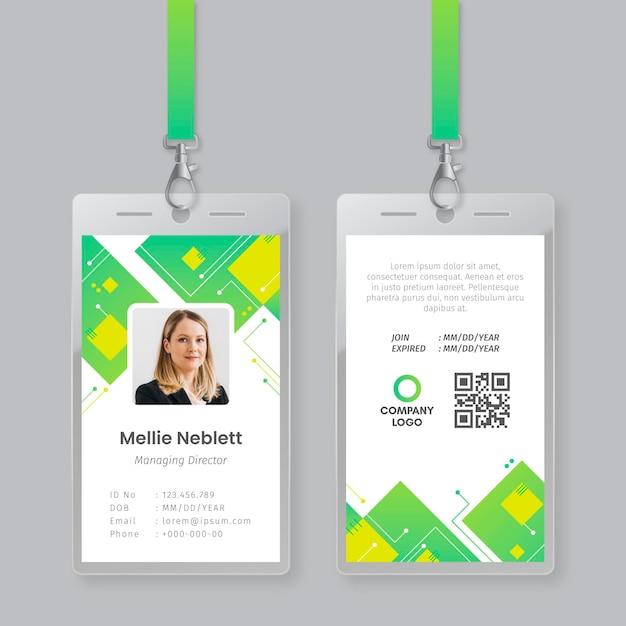 Modelo de cartão de identificação com foto Vetor grátis