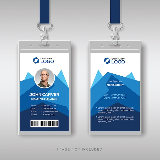 Modelo de cartão de identificação criativa com abstrato azul geométrica Vetor Premium