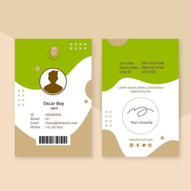 Modelo de cartão de identificação de brunch Vetor grátis