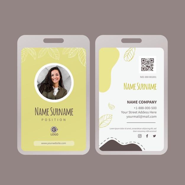 Modelo de cartão de identificação de chá matcha Vetor Premium