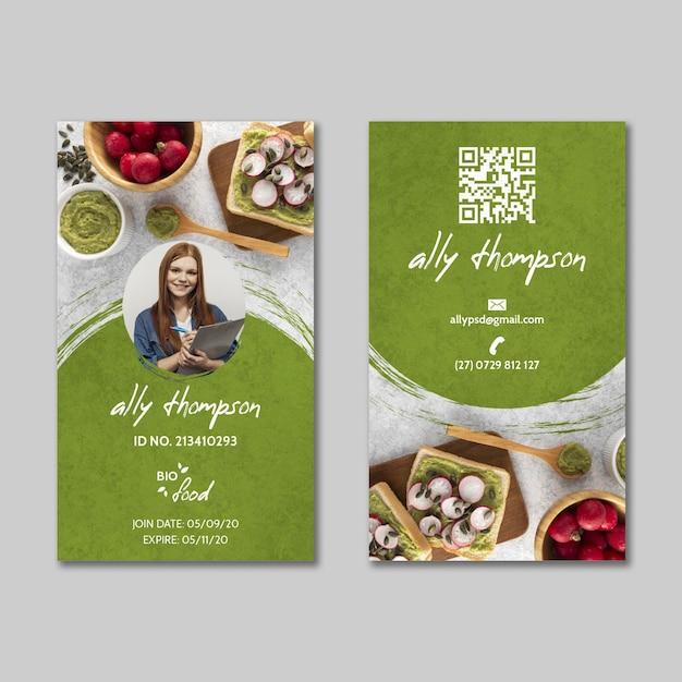 Modelo de cartão de identificação de comida saudável Vetor grátis