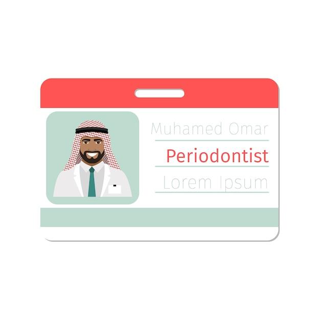 Modelo de cartão de identificação de especialista médico periodontista Vetor Premium
