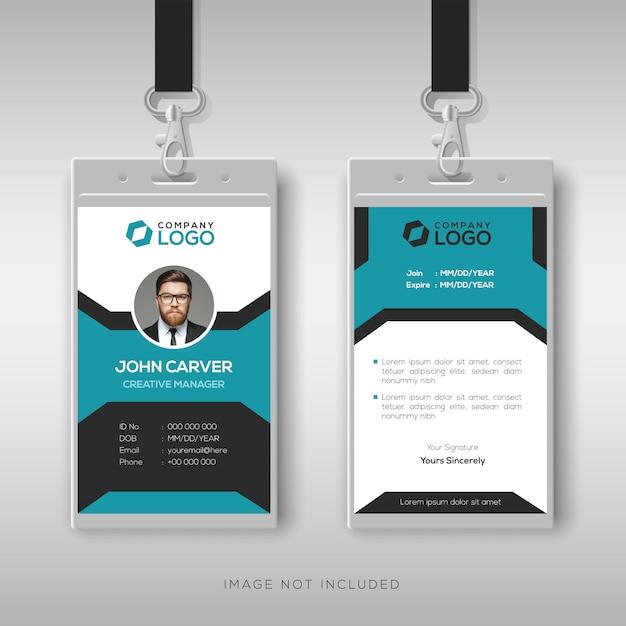 Modelo de cartão de identificação de funcionário criativo Vetor Premium