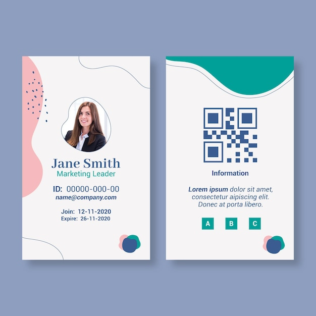 Modelo de cartão de identificação de mulher de negócios Vetor grátis
