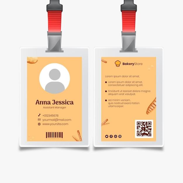 Modelo de cartão de identificação de pão Vetor Premium