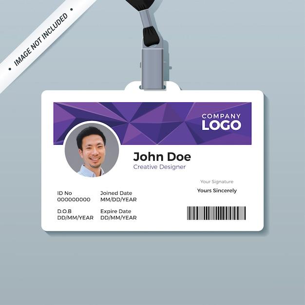 Modelo de cartão de identificação de polígono roxo Vetor Premium