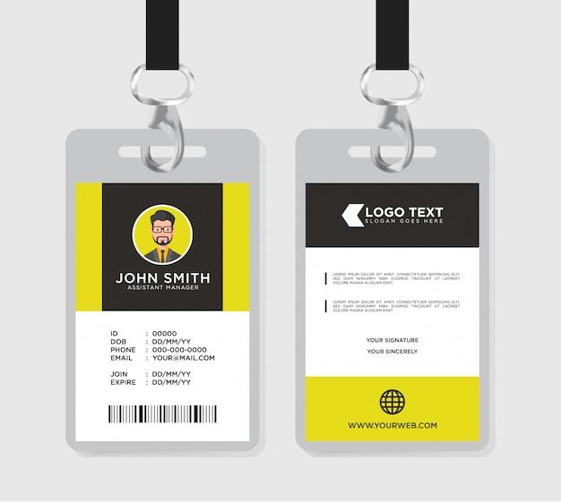 Modelo de cartão de identificação minimalista Vetor Premium