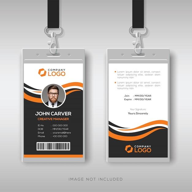 Modelo de cartão de identificação moderno criativo com detalhes laranja Vetor Premium