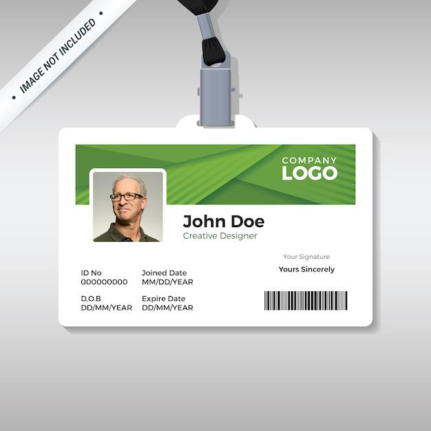 Modelo de cartão de identificação verde simples Vetor Premium