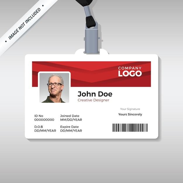 Modelo de cartão de identificação vermelho simples e limpo Vetor Premium
