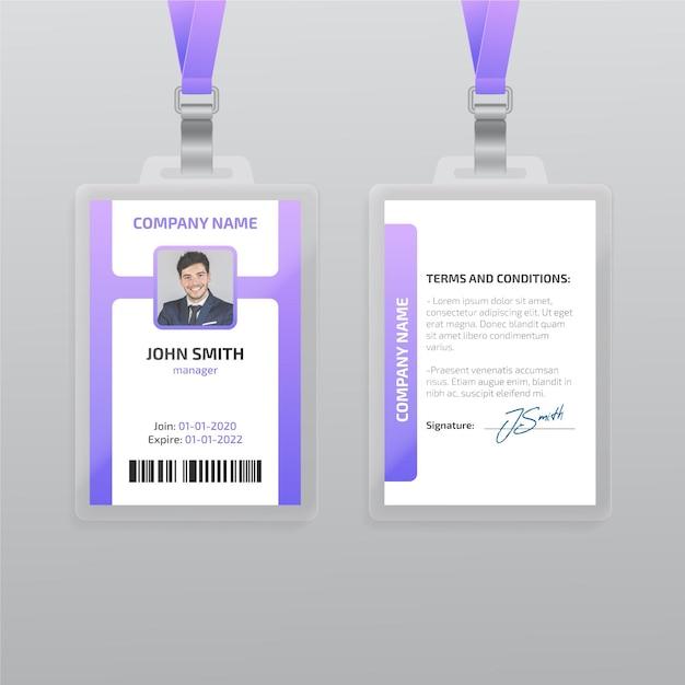 Modelo de cartão de identificação vertical com foto Vetor grátis
