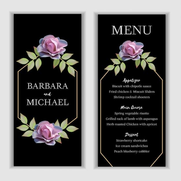Modelo de cartão de menu de casamento floral Vetor Premium