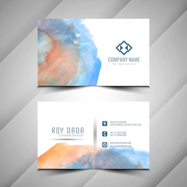 Modelo de cartão de negócios abstrato design aquarela Vetor Premium