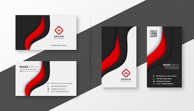 Modelo de cartão de negócios corporativo vermelho elegante Vetor grátis