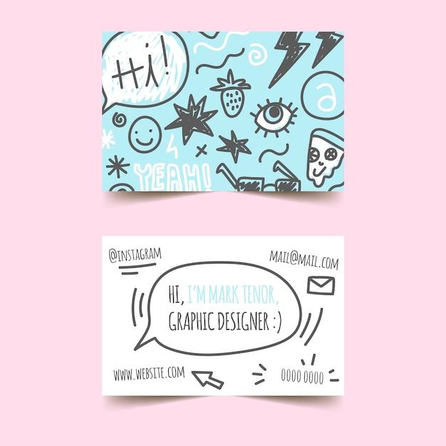 Modelo de cartão de negócios - doodles designer gráfico Vetor grátis