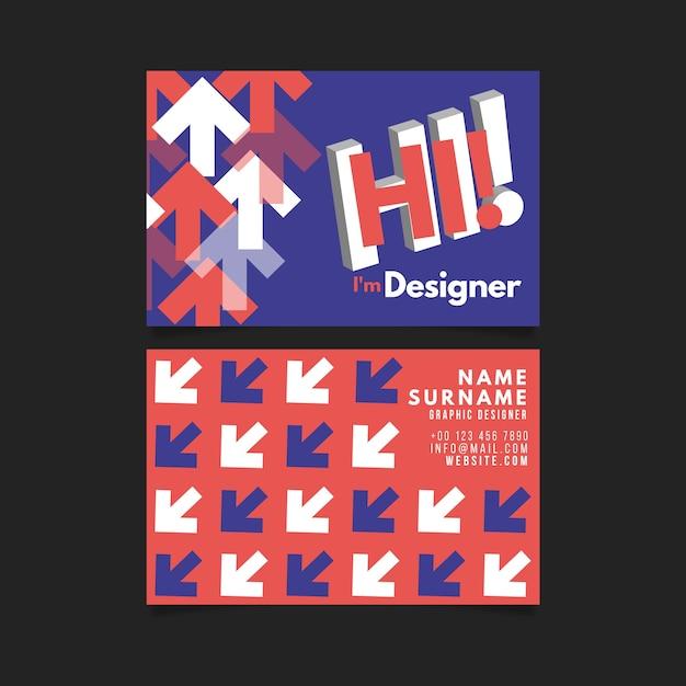 Modelo de cartão de negócios engraçado designer gráfico Vetor grátis