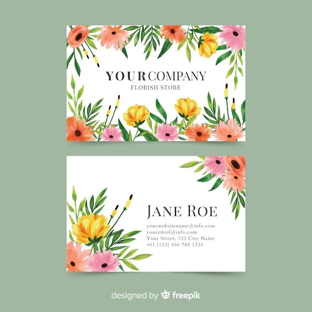 Modelo de cartão de negócios floral aquarela elegante Vetor grátis