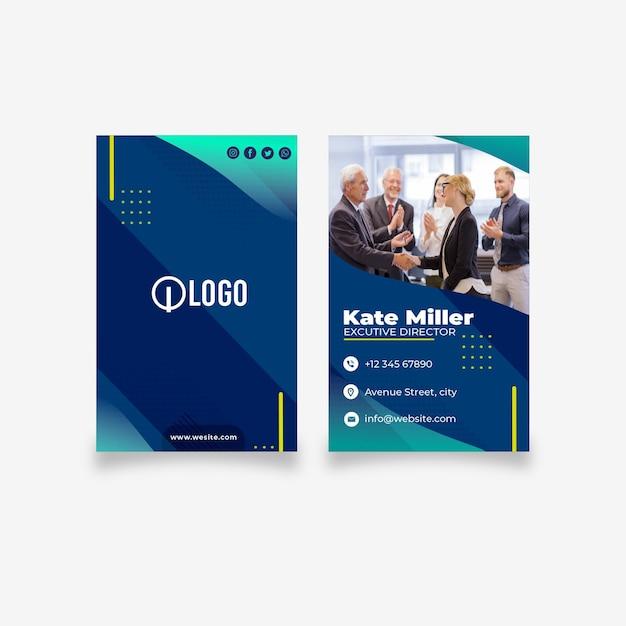 Modelo de cartão de negócios frente e verso de marketing Vetor Premium