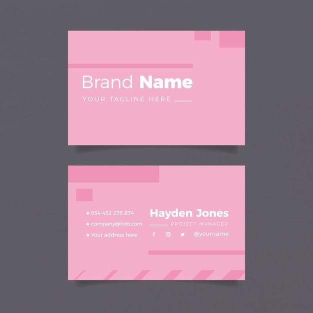 Modelo de cartão de negócios minimalista em tons de rosa Vetor grátis