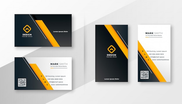 Modelo de cartão de negócios moderno amarelo geométrico Vetor grátis