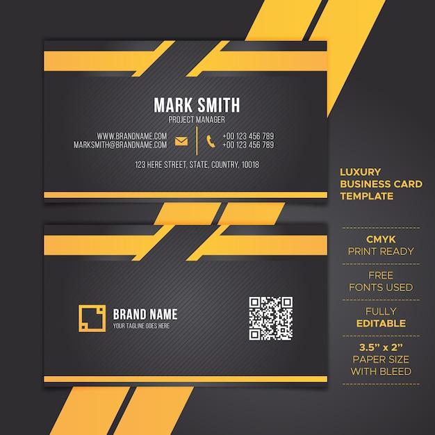 Modelo de cartão de negócios preto Vetor Premium